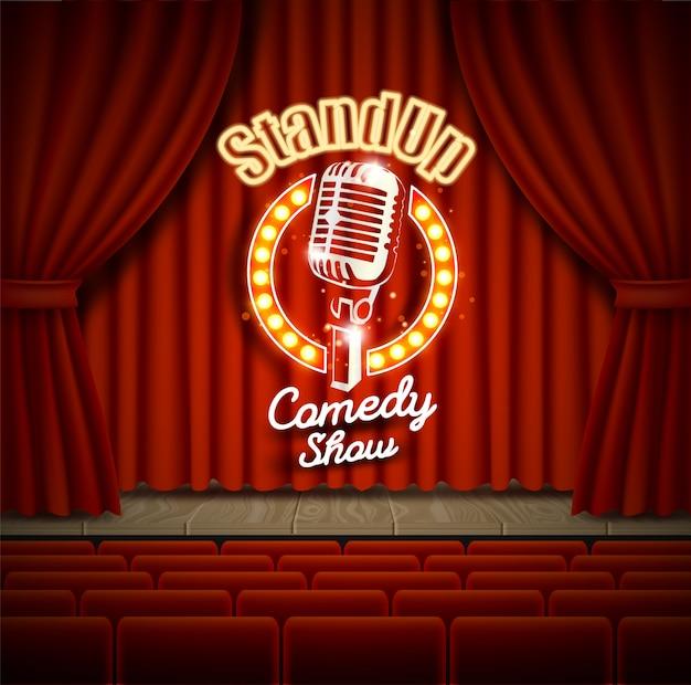 Scena del teatro di spettacolo commedia con l'illustrazione realistica delle tende rosse Vettore Premium