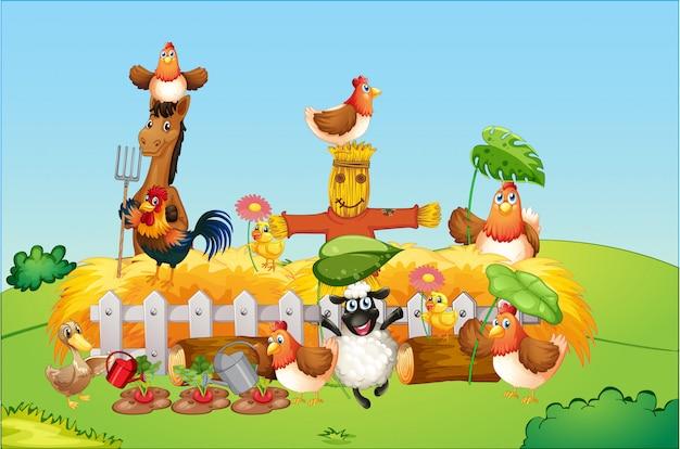 Scena dell'azienda agricola con stile del fumetto della fattoria degli animali Vettore gratuito