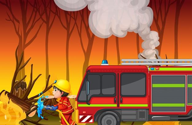 Scena dell'incidente con incendi boschivi Vettore gratuito