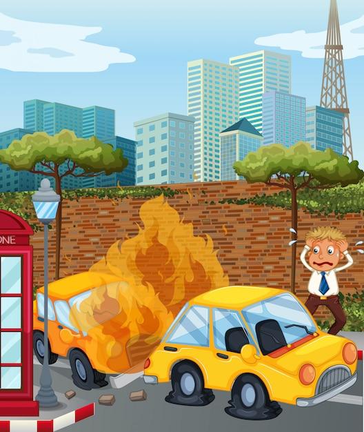 Scena dell'incidente con le auto in fiamme in città Vettore gratuito