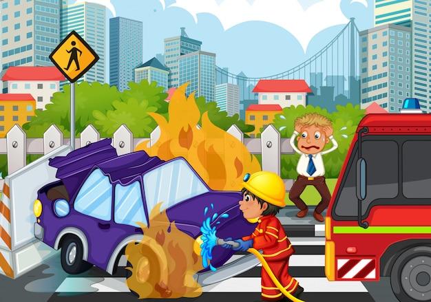 Scena dell'incidente con vigile del fuoco e auto in fiamme Vettore gratuito