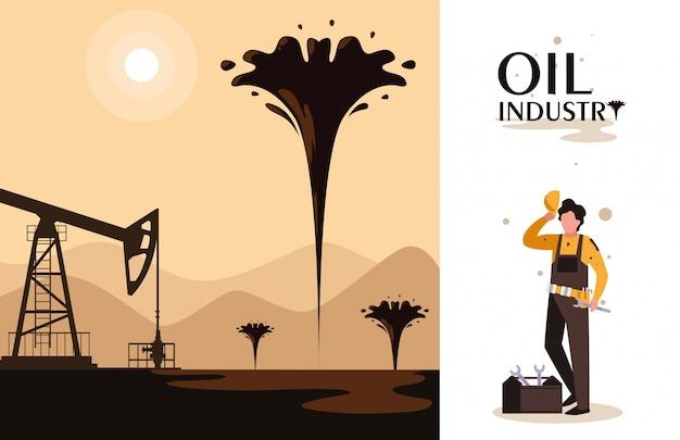 Scena dell'industria petrolifera con torre e lavoratore Vettore Premium