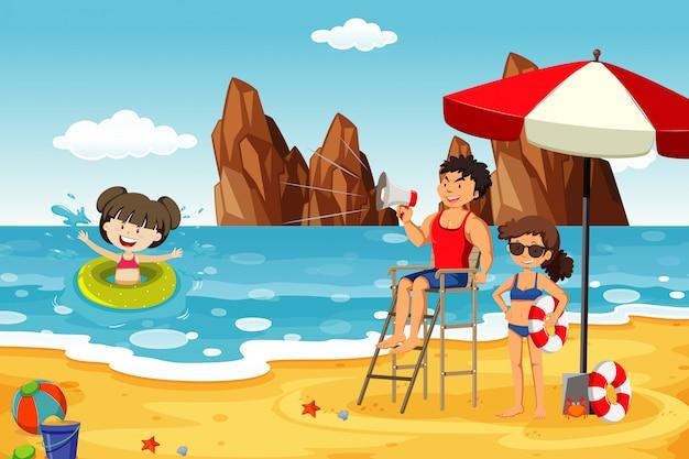 Scena dell'oceano con gente che si diverte sulla spiaggia Vettore gratuito