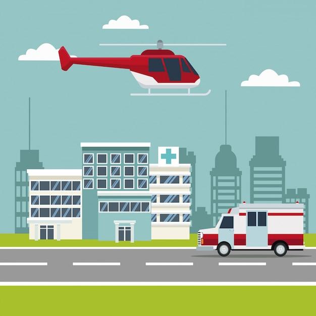 Scena della città costruendo ospedali con ambulanza ed elicottero Vettore Premium