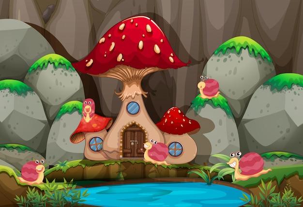 Scena della foresta con la casa dei funghi dallo stagno Vettore Premium
