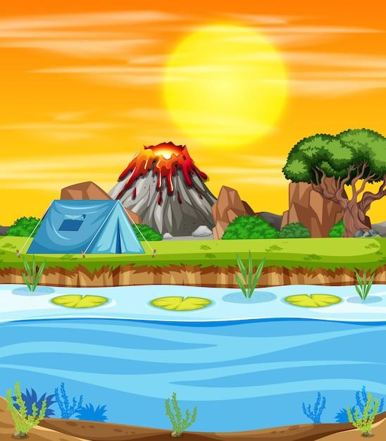 Scena della natura con campeggio sul lago Vettore Premium