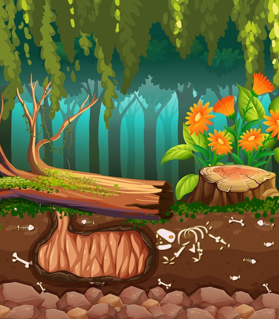 Scena della natura con ossa di animali sotterranee Vettore gratuito