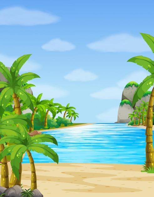 Scena della natura con sfondo oceano Vettore gratuito