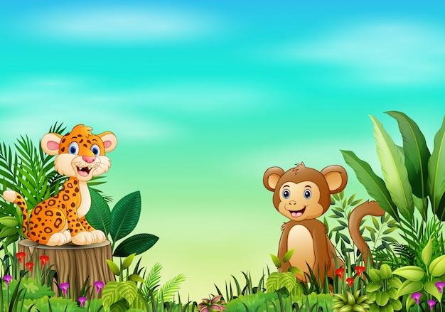 Scena della natura con un leopardo bambino Vettore Premium