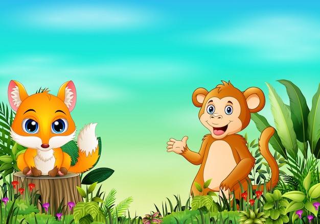Scena della natura con una volpe del bambino che sta sul ceppo di albero Vettore Premium
