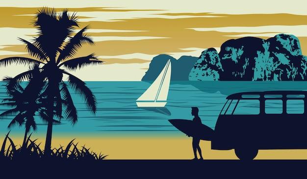 Scena della natura del mare in estate Vettore Premium