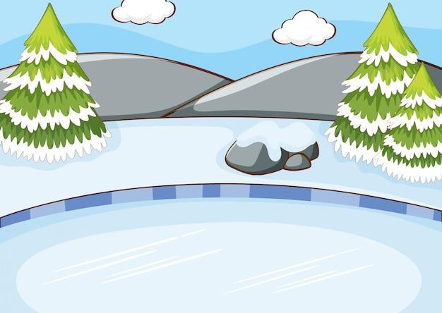 Scena della priorità bassa con neve nel campo Vettore gratuito