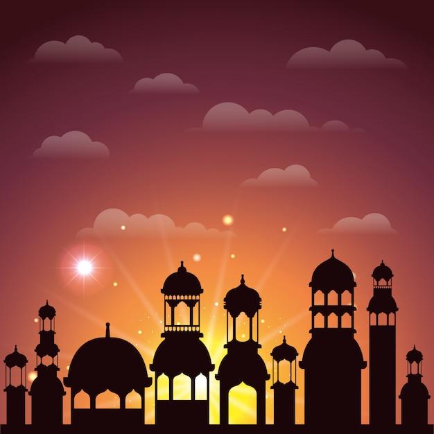 Scena della siluetta di paesaggio urbano di ramadan kareem Vettore Premium