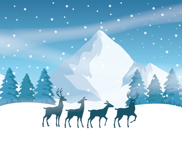 Scena dello snowscape della foresta con progettazione dell'illustrazione di vettore delle siluette della renna Vettore Premium