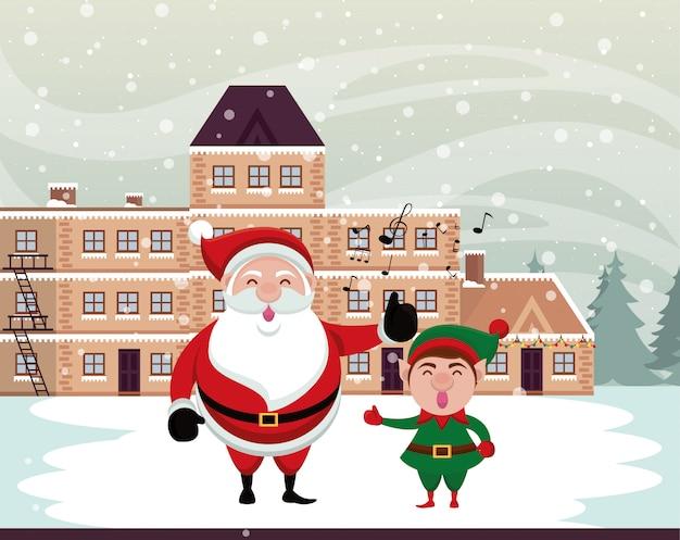 Scena dello snowscape di natale con il babbo natale e l'elfo Vettore Premium