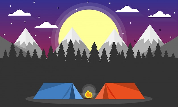 Scena di avventura in campeggio Vettore Premium