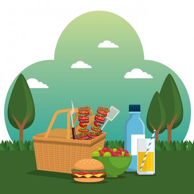 Scena di celebrazione della festa picnic Vettore gratuito