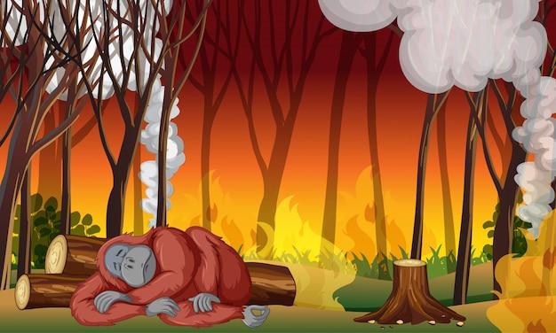 Scena di controllo dell'inquinamento con scimmia e incendi Vettore gratuito