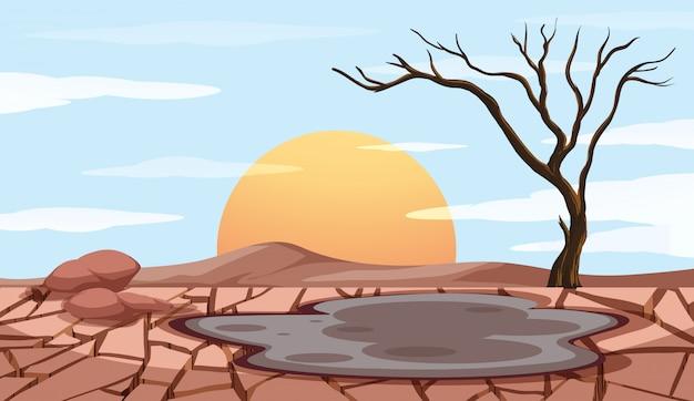 Scena di controllo dell'inquinamento con terra asciutta Vettore gratuito