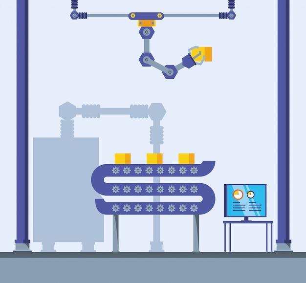 Scena di fabbrica technified Vettore Premium