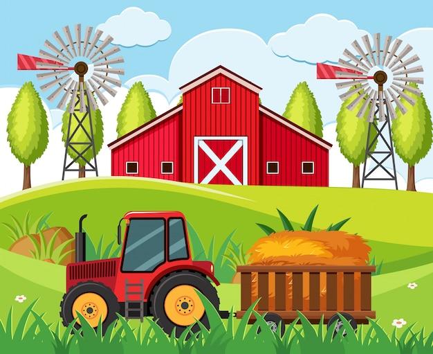 Scena di fattoria con trattore rosso e fienile sulle colline Vettore Premium