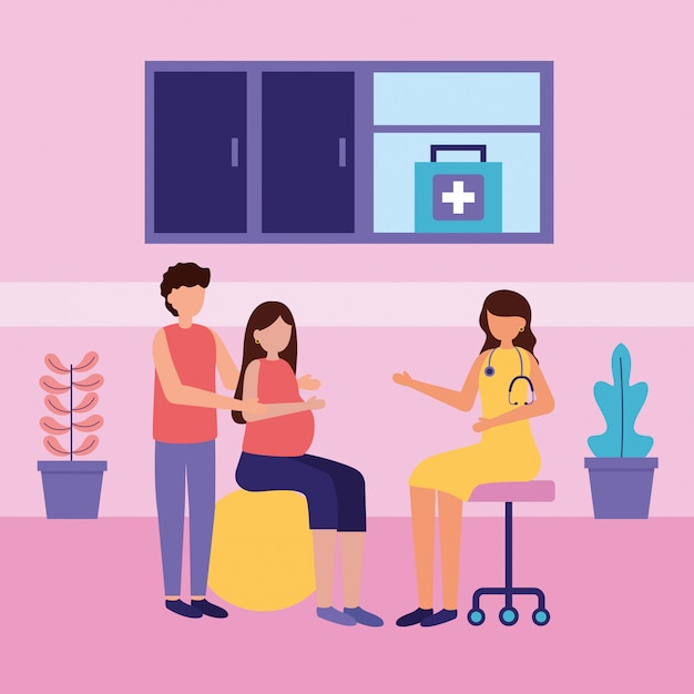 Scena di gravidanza e maternità Vettore gratuito