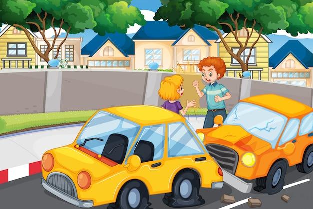 Scena di incidente con persone e incidente d'auto Vettore gratuito