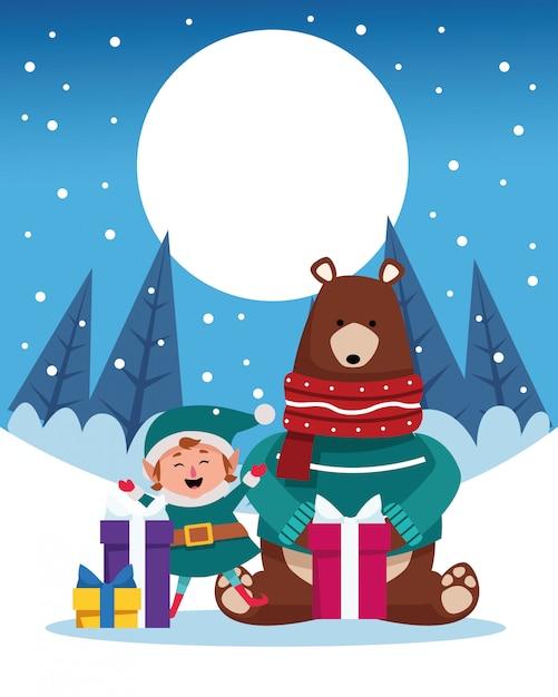 Scena di natale dello snowscape di inverno con l'illustrazione dell'orso grigio dell'orso Vettore Premium