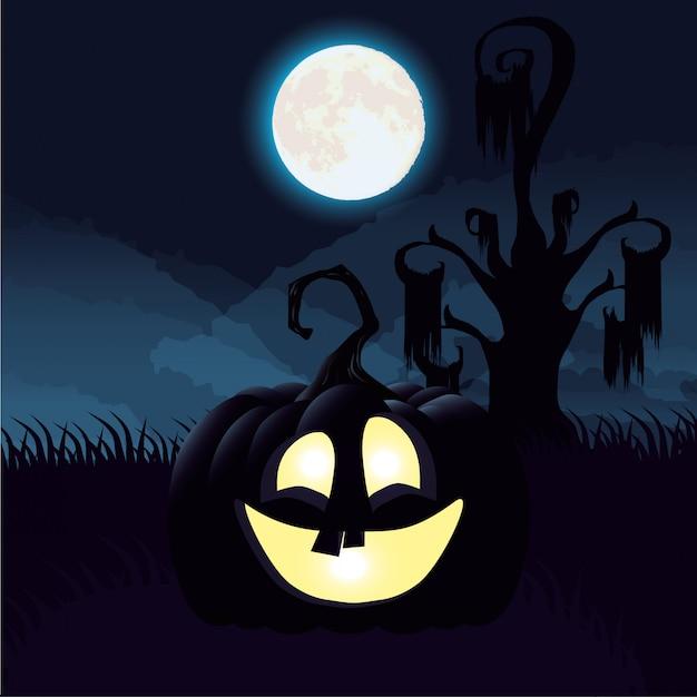 Scena di notte oscura di halloween con la zucca Vettore gratuito