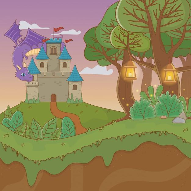 Scena di paesaggio da favola con castello e drago Vettore Premium