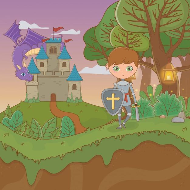 Scena di paesaggio da favola con castello e guerriero Vettore Premium