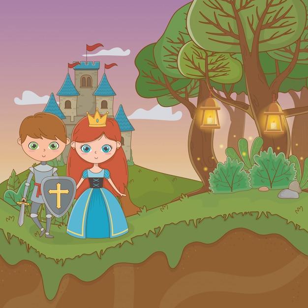 Scena di paesaggio da favola con coppia castello e amanti Vettore Premium