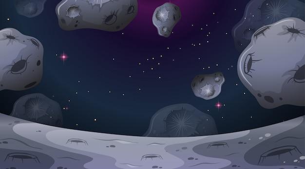 Scena di paesaggio di luna di asteroidi Vettore gratuito