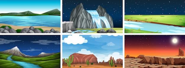Scena di paesaggio naturale Vettore gratuito