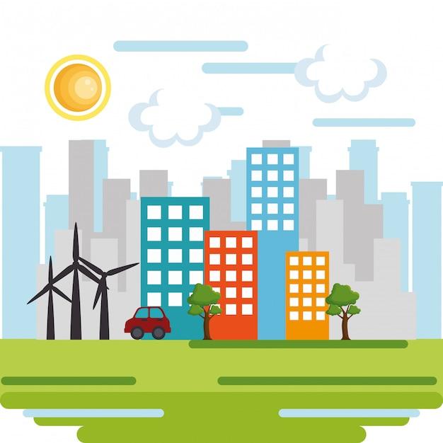 Scena di paesaggio urbano eco-friendly Vettore gratuito