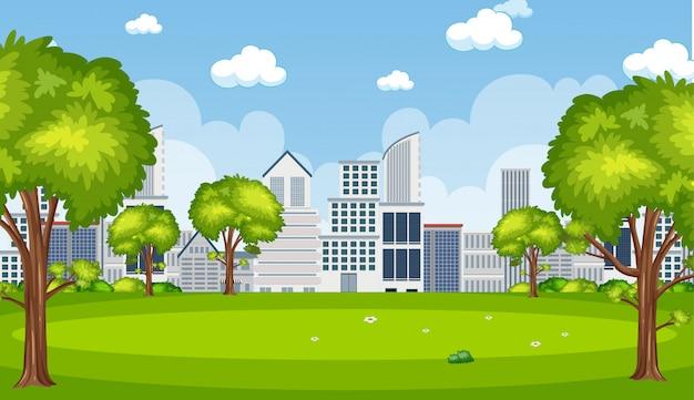 Scena di sfondo con edifici in città Vettore Premium