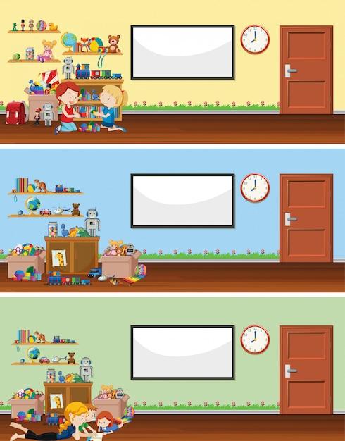 Scena di sfondo con lavagna e giocattoli Vettore gratuito