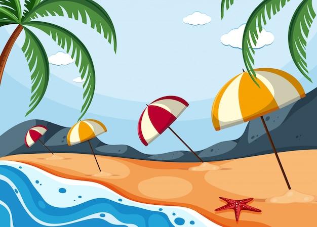 Disegni Di Spiaggia E Ombrelloni.Scena Di Sfondo Con Ombrelloni Sulla Spiaggia Scaricare Vettori