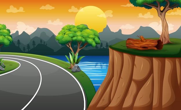 Scena di sfondo con strada e scogliera sul paesaggio Vettore Premium