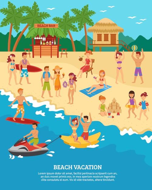 Scena di spiaggia piatta Vettore gratuito