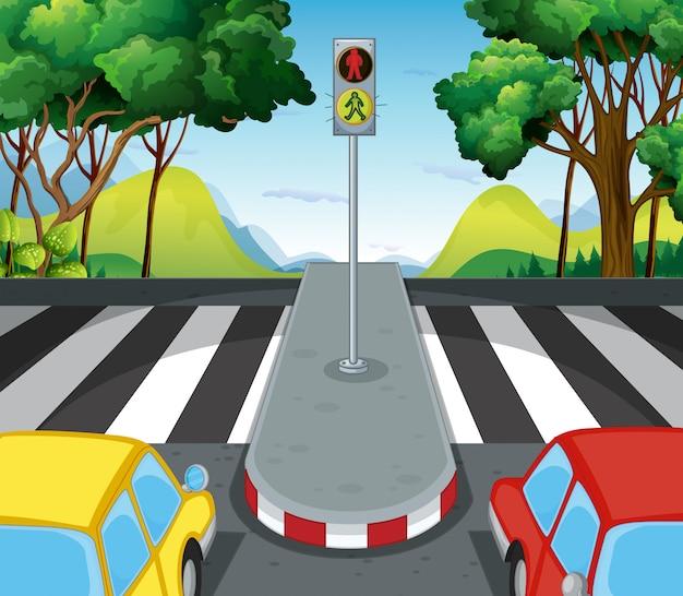 Scena di strada con strisce pedonali e automobili Vettore gratuito