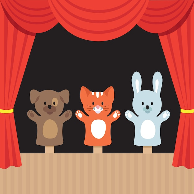 Scena di teatro di burattini per bambini con simpatici animali e tenda rossa. Vettore Premium