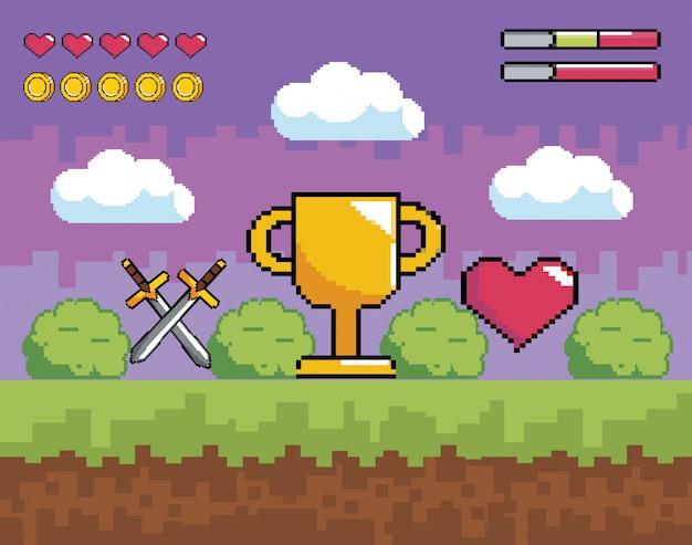Scena di videogame con premio di coppa pixelata e spade con cuore Vettore Premium