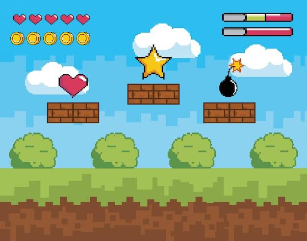 Scena di videogiochi con vita di cuore e barre di monete Vettore Premium