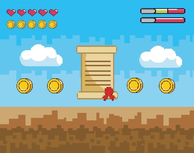 Scena di videogiochi pixelata con lettere e monete con barre di vita Vettore Premium