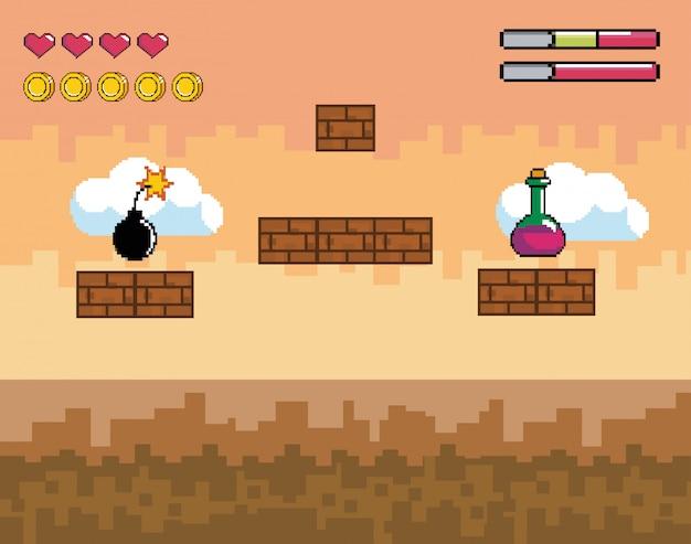 Scena di videogiochi pixelata con pozione e bomba con barra della vita Vettore Premium