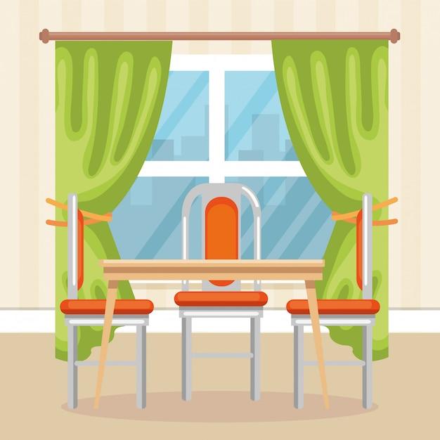 Scena elegante sala da pranzo Vettore gratuito