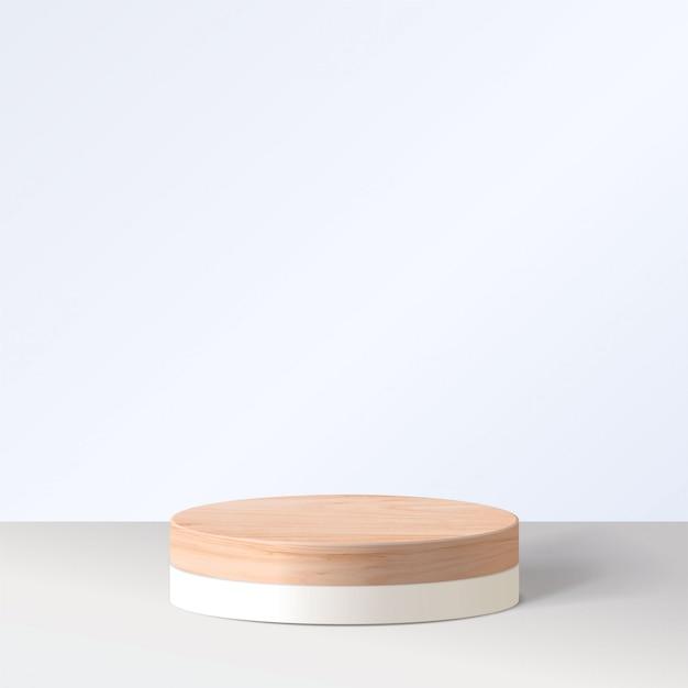 Scena minima astratta con forme geometriche. cilindro bianco podio a sfondo bianco. presentazione del prodotto, modello, spettacolo di prodotti cosmetici, podio, piedistallo o piattaforma. 3d Vettore Premium