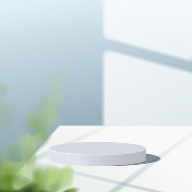 Scena minima astratta con forme geometriche. podio bianco cilindro a sfondo blu con foglie. presentazione del prodotto, modello, spettacolo di prodotti cosmetici, podio, piedistallo o piattaforma. 3d Vettore Premium