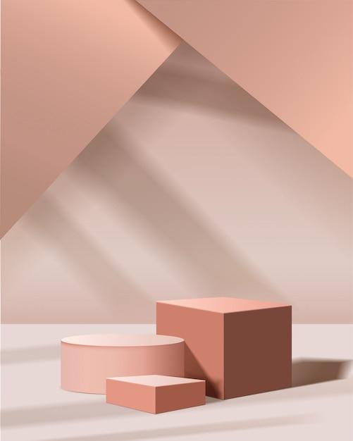 Scena minimale con forme geometriche. podi cilindrici e cubici con luce solare. scena per mostrare prodotti cosmetici, vetrina, vetrina, vetrina. illustrazione 3d Vettore Premium